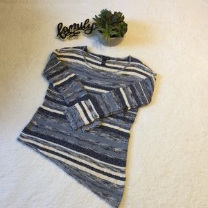 INC Blue & White Sweater Top